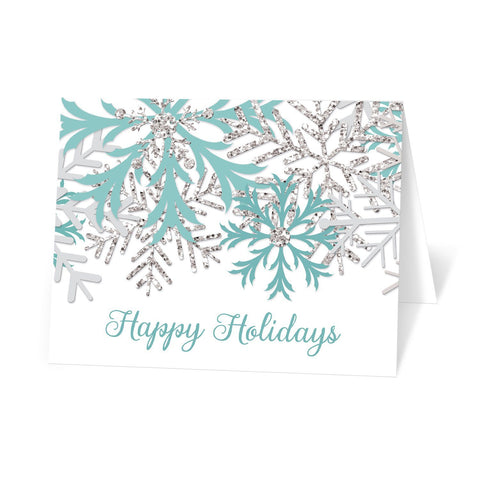 Winter Teal Silver Snowflake Holiday Cards at Artistically Invited