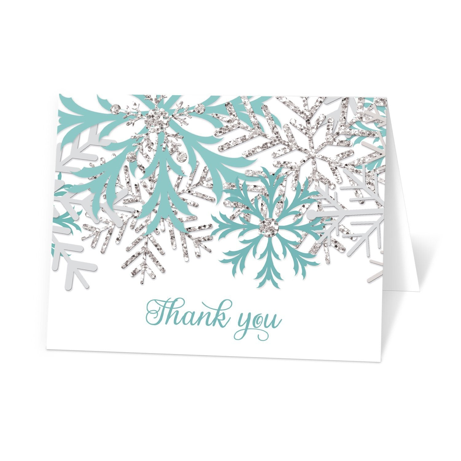 Snowflake Thank You Cards - Winter Teal Silver Snowflake Thank You Cards at Artistically Invited