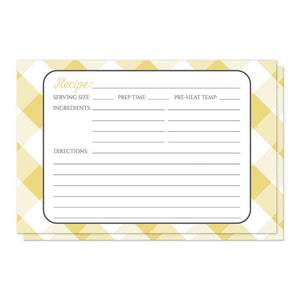 Yellow Gingham Recipe Cards at Artistically Invited