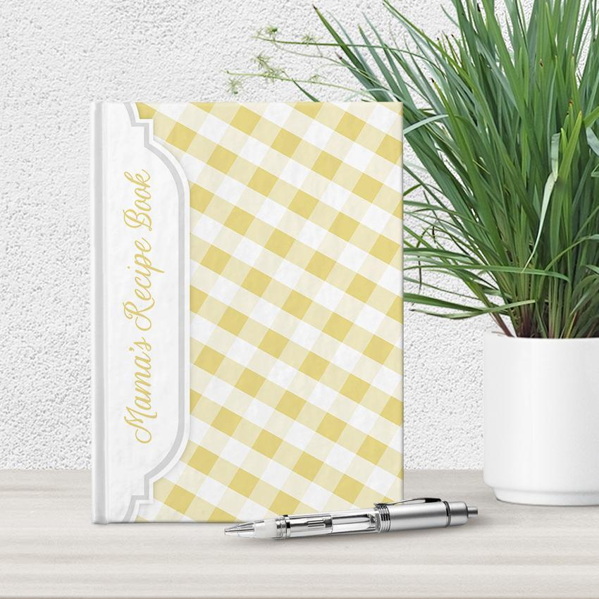 Personalized Yellow Gingham Recipe Book at Artistically Invited