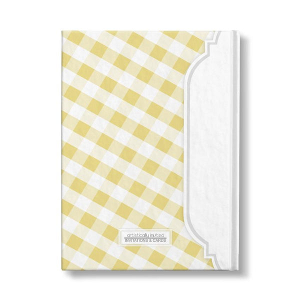 "Yellow and White Gingham Pattern Personalized 5"" x 7"" Journal - back"
