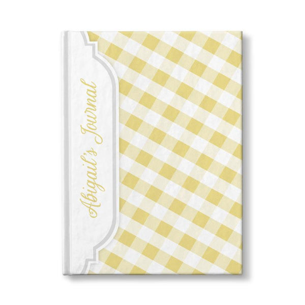"Yellow and White Gingham Pattern Personalized 5"" x 7"" Journal"