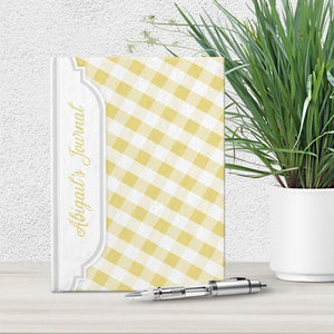 Personalized Yellow Gingham Journal at Artistically Invited