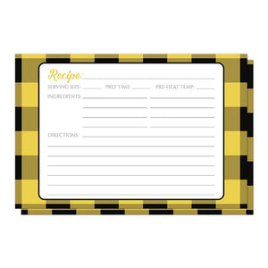 Yellow and Black Buffalo Plaid Recipe Cards at Artistically Invited