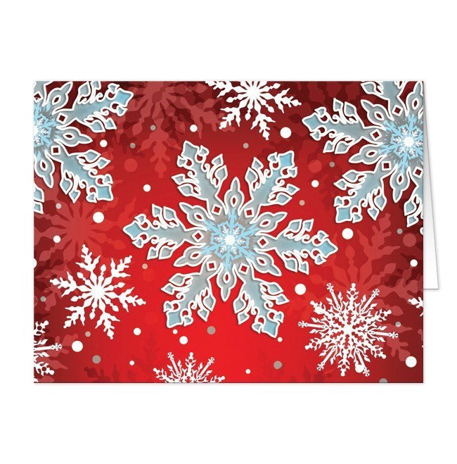 Royal Red White Blue Snowflake Note Cards - Artistically Invited