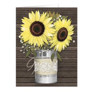 Rustic Burlap and Lace Tin Can Sunflower Note Cards - Artistically Invited