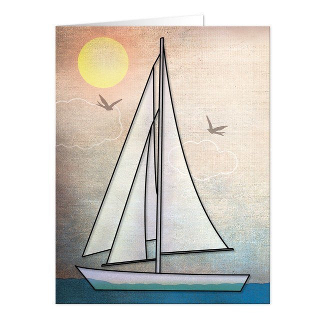 Rustic Sailboat Nautical Note Cards - Artistically Invited