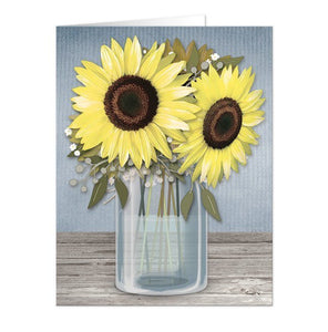 Sunflower Blue Mason Jar Rustic Note Cards - Artistically Invited
