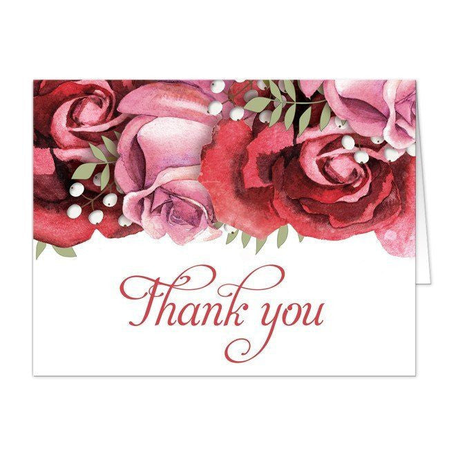 Burgundy Red Pink Rose Thank You Cards at  Artistically Invited