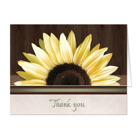 Country Sunflower Over Wood Rustic Thank You Cards - Artistically Invited