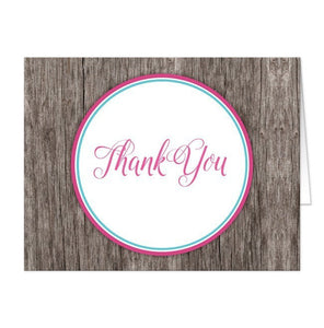 Fuchsia Turquoise Rustic Wood Thank You Cards - Artistically Invited