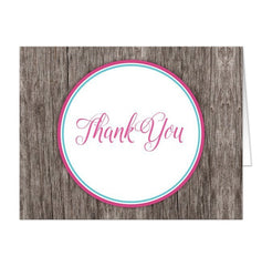 Fuchsia Turquoise Rustic Wood Thank You Cards