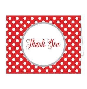 Gray and Red Polka Dot Thank You Cards - Artistically Invited