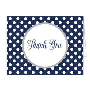 Gray Navy Blue Polka Dot Thank You Cards - Artistically Invited