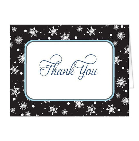 Midnight Snowflake Winter Thank You Cards - Artistically Invited