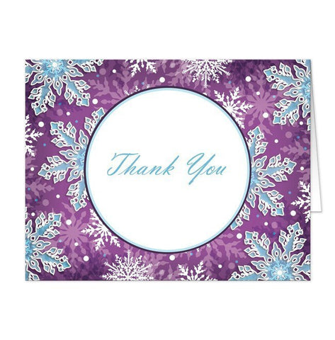 Modern Purple Blue Snowflake Thank You Cards - Artistically Invited
