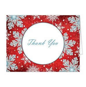 Modern Red White Blue Snowflake Thank You Cards - Artistically Invited