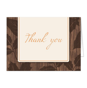 Modern Rustic Autumn Wood Leaves Thank You Cards - Artistically Invited