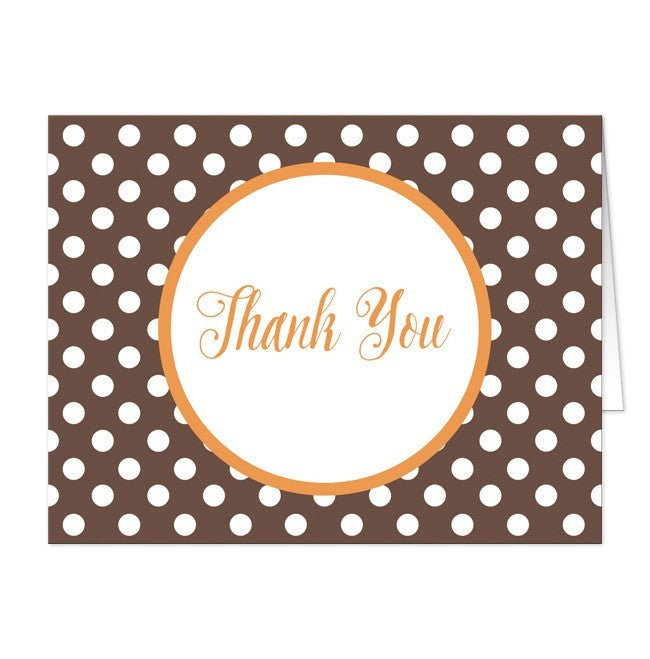 Orange Brown Polka Dot Thank You Cards - Artistically Invited
