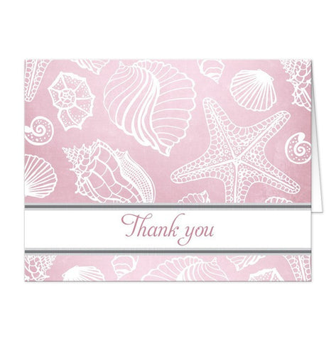 Pink Beach Seashells Pattern Thank You Cards - Artistically Invited