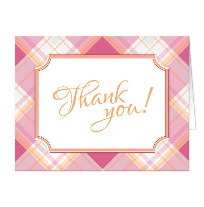 Pink and Orange Plaid Thank You Cards at  Artistically Invited