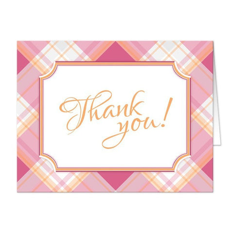 Pink and Orange Plaid Thank You Cards - Artistically Invited
