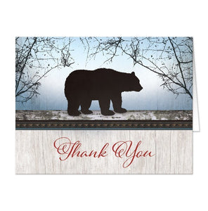 Rustic Bear Wood Red Blue Thank You Cards - Artistically Invited