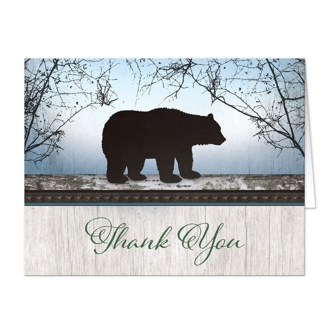 Rustic Bear Wood Red Blue Thank You Cards at  Artistically Invited
