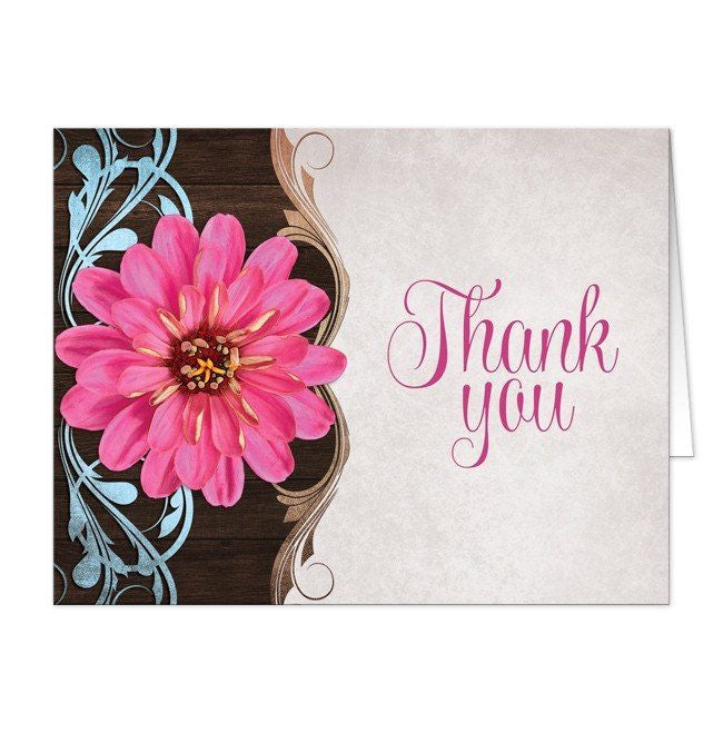 Rustic Country Pink Zinnia Thank You Cards - Artistically Invited