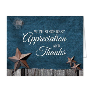 Rustic Denim Country Stars Thank You Cards - Artistically Invited