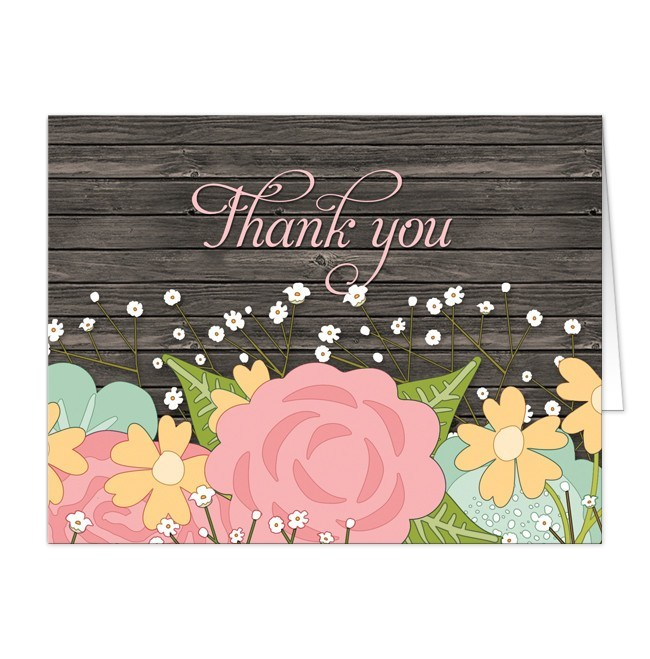 Cards - Thank You Cards - Rustic Floral Wood Baby's Breath