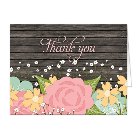 Rustic Floral Wood Baby's Breath Thank You Cards - Artistically Invited