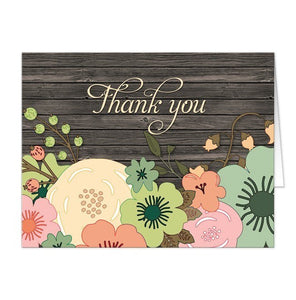 Rustic Orange Teal Floral Wood Thank You Cards - Artistically Invited