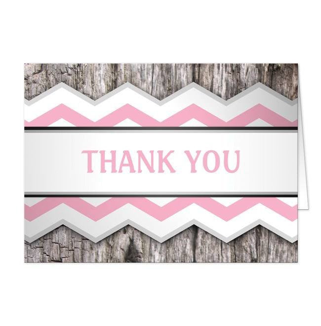 Rustic Pink Chevron and Wood Thank You Cards at  Artistically Invited