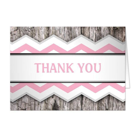 Rustic Pink Chevron and Wood Thank You Cards - Artistically Invited