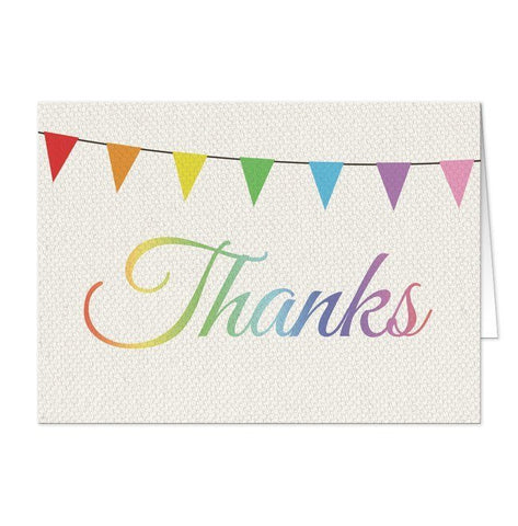 Rustic Rainbow Bunting Flags Thank You Cards - Artistically Invited