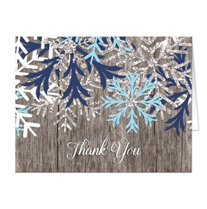 Rustic Snowflake Navy Aqua Wood Thank You Cards - Artistically Invited