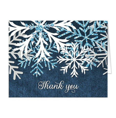 Rustic Snowflake Navy Denim Thank You Cards - Artistically Invited
