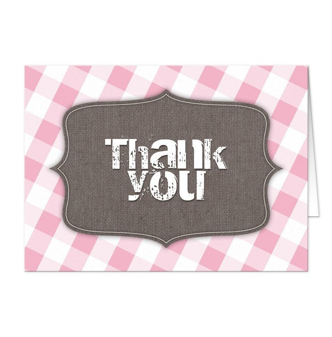 Rustic Southern Gingham Thank You Cards - Artistically Invited