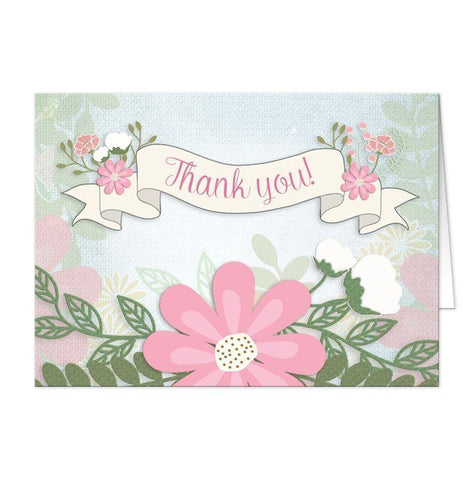 Rustic Southern Whimsical Floral Thank You Cards - Artistically Invited