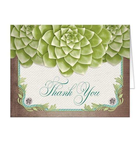 Rustic Succulent Garden Thank You Cards - Artistically Invited