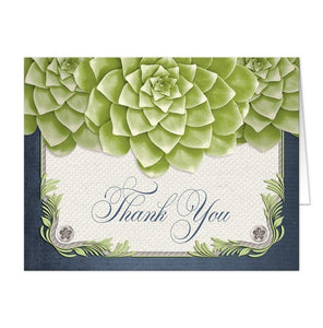 Rustic Succulent Garden Navy Thank You Cards - Artistically Invited