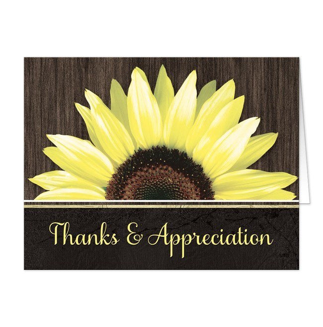 Rustic Sunflower Black Thank You Cards - Artistically Invited