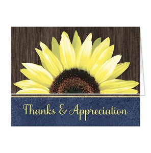 Rustic Sunflower Blue Thank You Cards - Artistically Invited