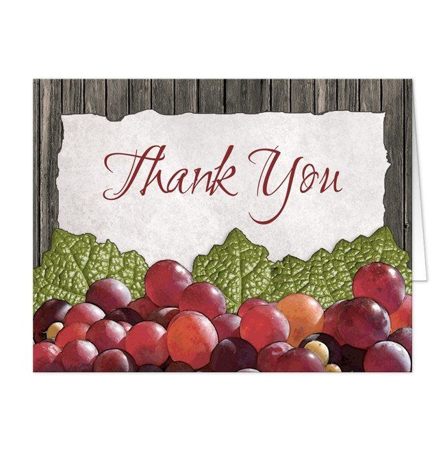 Rustic Winery Grapes Thank You Cards - Artistically Invited