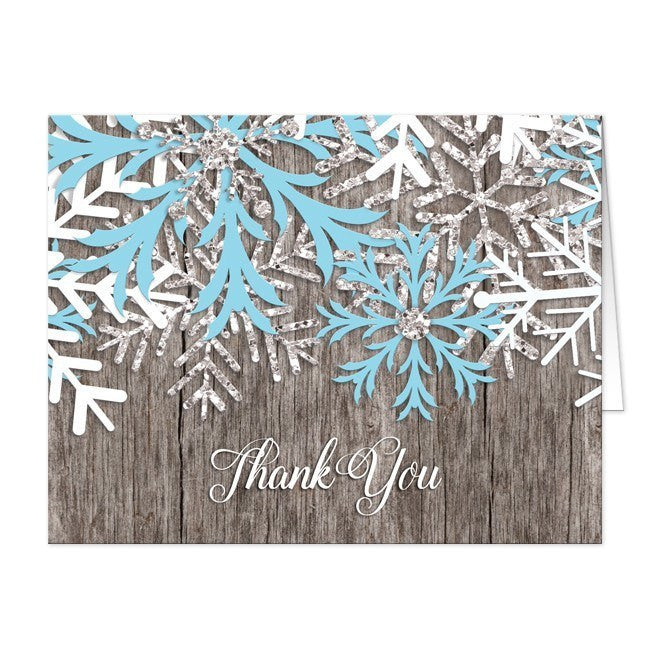 Rustic Winter Wood Blue Snowflake Thank You Cards - Artistically Invited