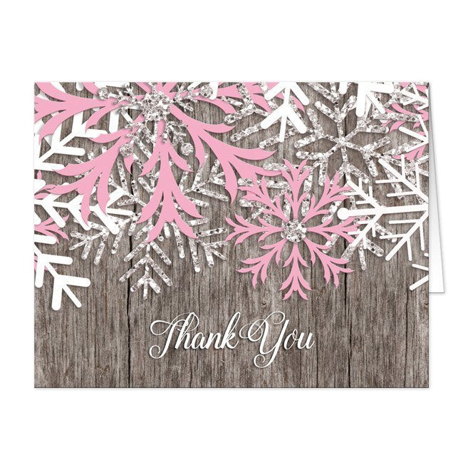 Rustic Winter Wood Pink Snowflake Thank You Cards at  Artistically Invited