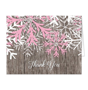 Rustic Winter Wood Pink Snowflake Thank You Cards - Artistically Invited