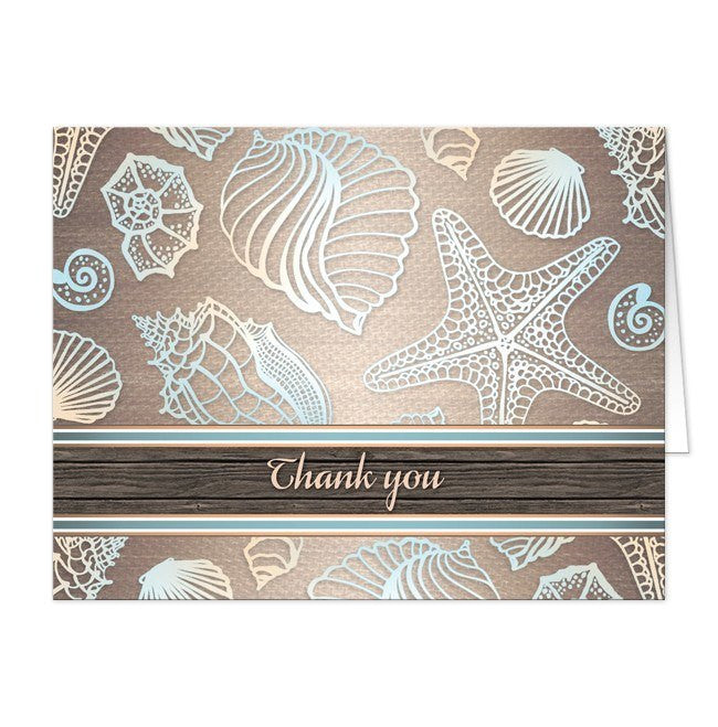 Cards - Thank You Cards - Rustic Wood Beach Seashell
