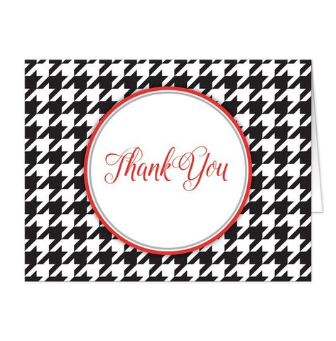 Stylish Black Houndstooth Red Thank You Cards - Artistically Invited